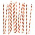 20 pailles rayées corail et blanc en papier