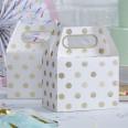 5 boîtes à gâteau blanc pois or lunchbox