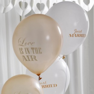 8 ballons mariage vintage Just Married love is in the air