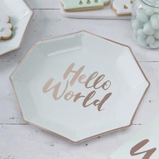 8 assiettes jetable Hello World menthe