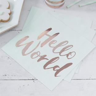 20 Serviettes en papier Hello World vert menthe