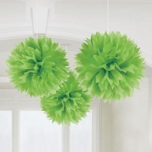 3 pompons en papier vert, déco à suspendre