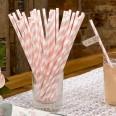 25 pailles rayures rose pâle blanc candy bar
