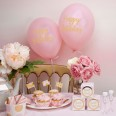 8 ballons Happy Birthday rose et or fille