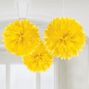 3 pompons jaune en papier, déco salle
