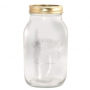 Location grand vase Mason Jar couvercle doré 1L