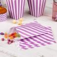 Sachets en papier rayures mauve lilas blanc (x25)