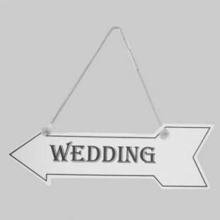 "Flèche directionnel en bois mariage ""Wedding"""
