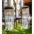 Fanions chaise mariage Mr et Mme jute dentelle ruban