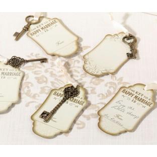 24 clés vintage bronze ruban et 24 étiquettes tags