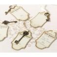 24 clés vintage bronze ruban et étiquettes tags