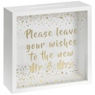 Urne tirelire mariage boîte vitrée Mr Mrs wishing box