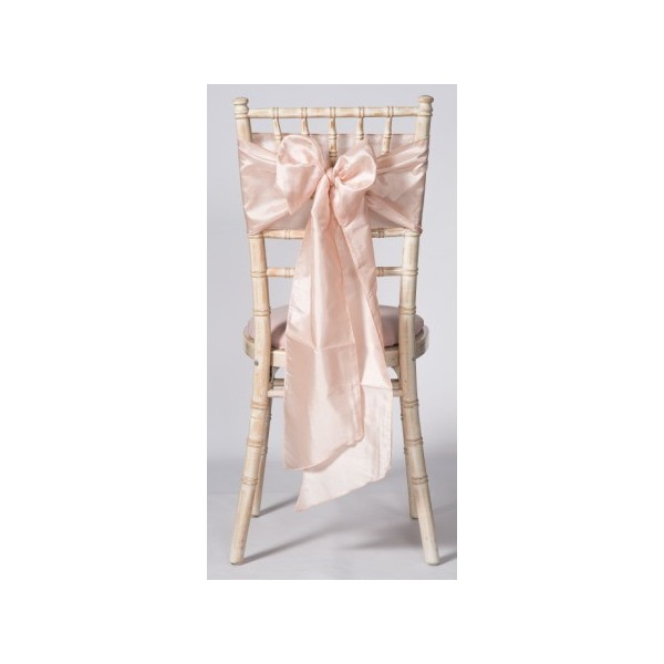 Location Noeud De Chaise Rose Blush Poudré Taffetas Housses Et