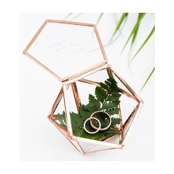 terrarium cuivr rose gold bo te porte alliances alternatives coussin alliances creative. Black Bedroom Furniture Sets. Home Design Ideas