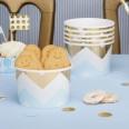 8 pots à bonbons chevron bleu ciel et or