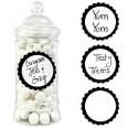 20 étiquettes autocollantes rondes pot candy bar noir