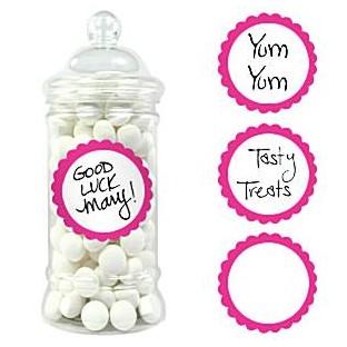 20 étiquettes rondes pot candy bar rose vif fuchsia