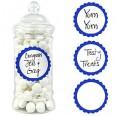 20 étiquettes rondes stickers pot candy bleu roi