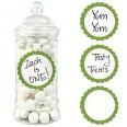 20 Etiquettes rondes pot candy bar vert