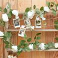 Guirlande de fleurs blanches 2M 16 roses artificielles