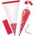 10 sachets bonbons cello cone rouge à pois
