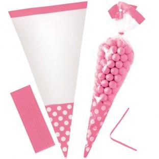 10 sachets bonbons cello cone rose à pois