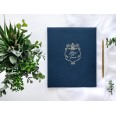Wedding white guest book with blue satin ribbon