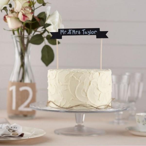 D coration g teau ardoise cake topper mariage autour du g teau creative emotions - Decoration gateau mariage ...