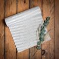 Chemin de table tissu rayé lin naturel blanc