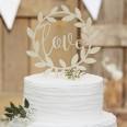 "Cake topper couronne en bois ""love"" mariage"
