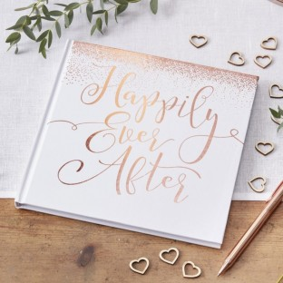 Livre d'or Happily Ever After or rose et blanc