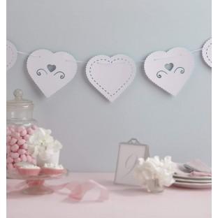 Grande Guirlande fanions mariage coeurs blanc