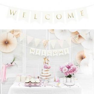 "Guirlande ""Welcome"" bienvenue blanc et gold 95cm"