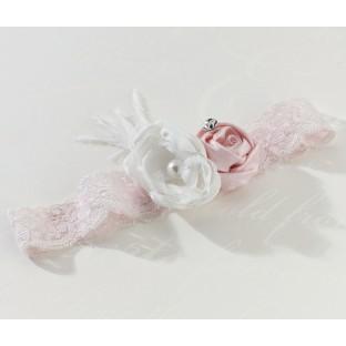 Jarretière mariage vintage rose pâle