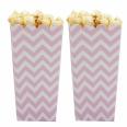 8 Pots à popcorn chevrons rose pale candy bar