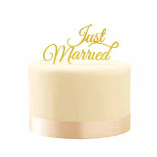 Cake topper gateau mariage just married doré