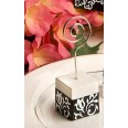 2 Marque table cube porte photo baroque damassé noir blanc