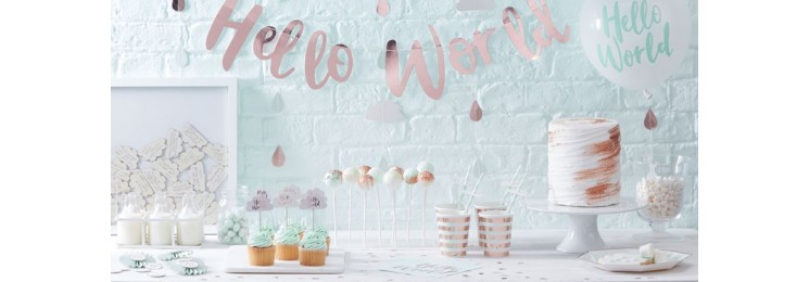 Hello World baby shower nuages rose gold mint